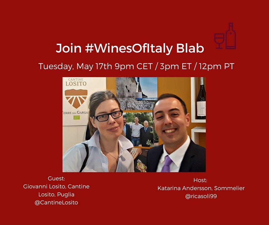 #WinesOfItaly Blab with Giovanni Losito, Cantine Losito, Puglia